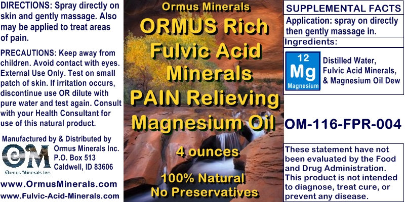Ormus Minerals - Ormus Rich Fulvic Acid Minerals PAIN RELIEVING Magnesium Oil
